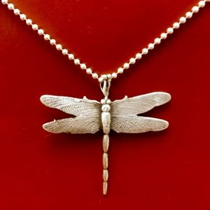 Bold Antique Sterling Silver Dragonfly Pendant